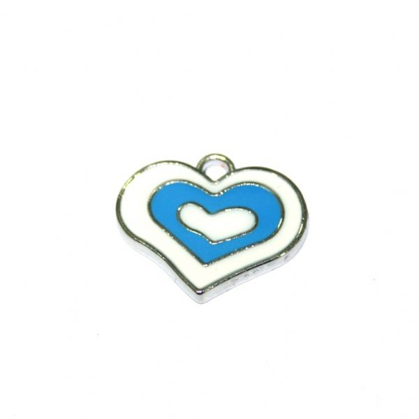 1pce x 21*18mm rhodium plated blue double heart enamel charm - SD03 - CHE1142